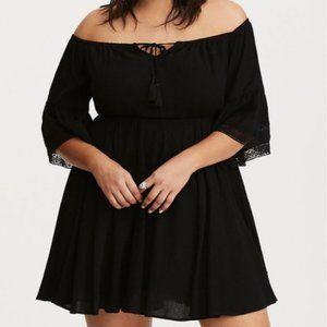 Torrid Sexy Black Mini Dress 3 3X Off Shoulder
